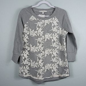 NWT Boston Proper floral lace overlay sweater S